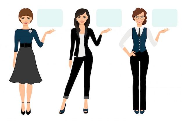 Ilustración de vector de presentación empresaria. presentación de negocios de mujer adulta aislada