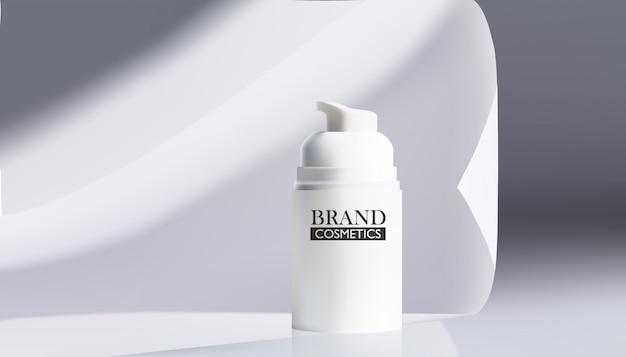 Ilustración de vector de productos cosméticos realistas en tela blanca.