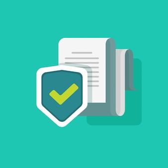 Ilustración de vector de protección de documentos o información de seguridad