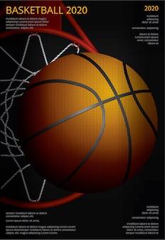 Ilustración de vector de publicidad de cartel de baloncesto