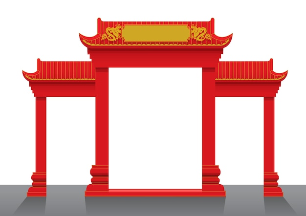 Ilustración de vector de puerta chino