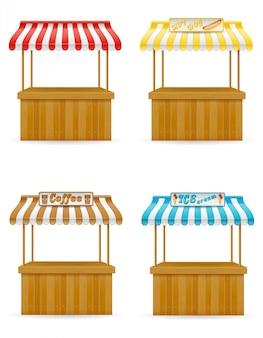 Ilustración de vector de puesto de comida callejera