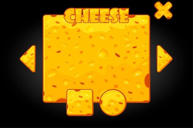 Ilustración de vector de queso banner y botones. interfaz de usuario de dibujos animados para el juego.