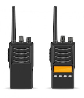 Ilustración de vector de radio walkie-talkie comunicación