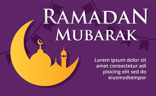 Ilustración de vector de ramadan mubarak. fondo de luna, bandera y mezquita