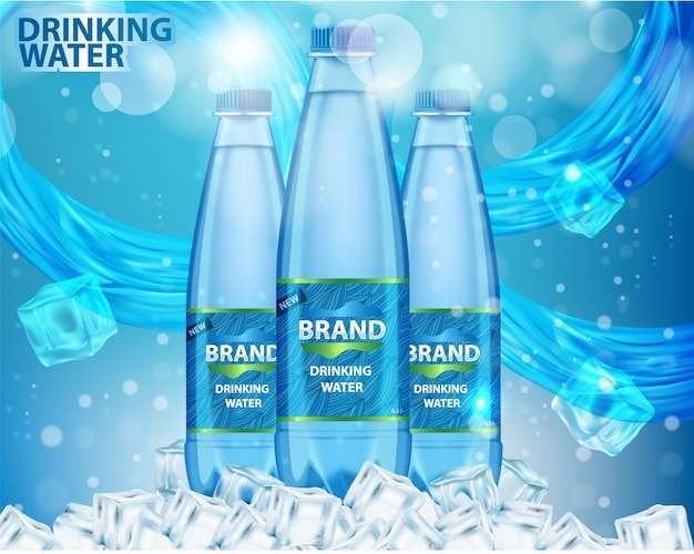 Ilustración de vector realista de anuncio de agua potable
