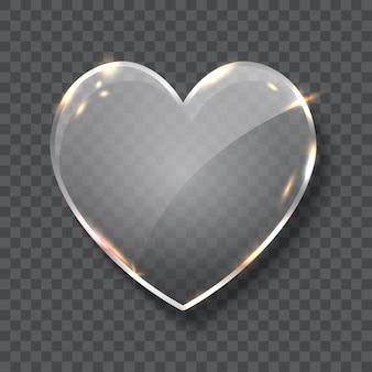Ilustración de vector realista de símbolo de corazón de cristal aislado sobre fondo transparente. signo de amor con lugar para inscripciones.