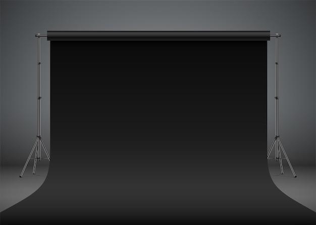 Ilustración de vector realista de telón de fondo de estudio fotográfico negro configuración de sesión de fotos de estilo premium negro