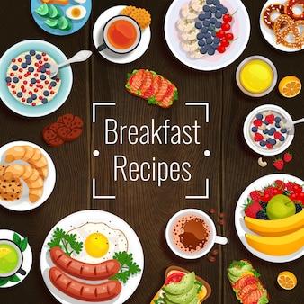 Ilustración de vector de recetas de desayuno