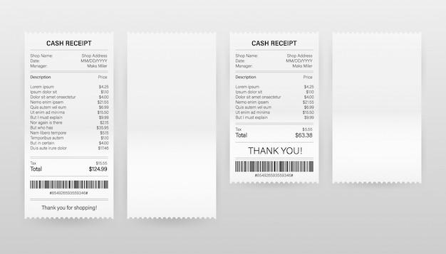 Ilustración de vector de recibos de facturas de papel de pago realista para efectivo o transacción de tarjeta de crédito.