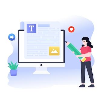 Ilustración de vector de redacción plana editar contenido en línea
