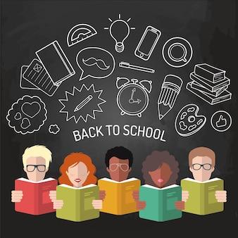 Ilustración de vector de regreso a la escuela en estilo plano. fondo educativo con iconos de estudiantes y alumnos.