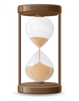 Ilustración de vector de reloj de arena retro viejo
