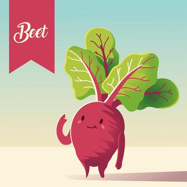 Ilustración de vector de remolacha lindo de dibujos animados kawaii vegetal