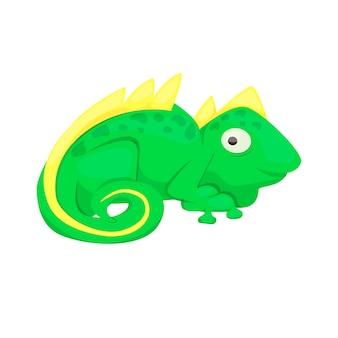 Ilustración de vector de reptil verde de carácter animal de lagarto de dibujos animados de iguana. dragón tropical del animal doméstico exótico de la fauna. depredador lindo reptil del zoológico.