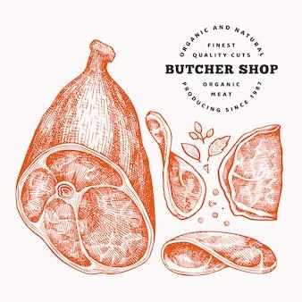 Ilustración de vector retro carne