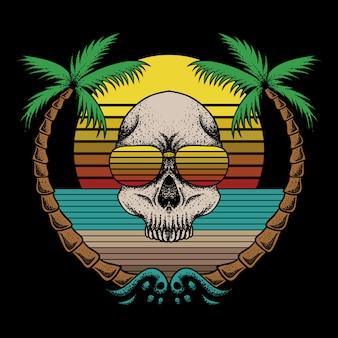 Ilustración de vector retro de playa de cráneo