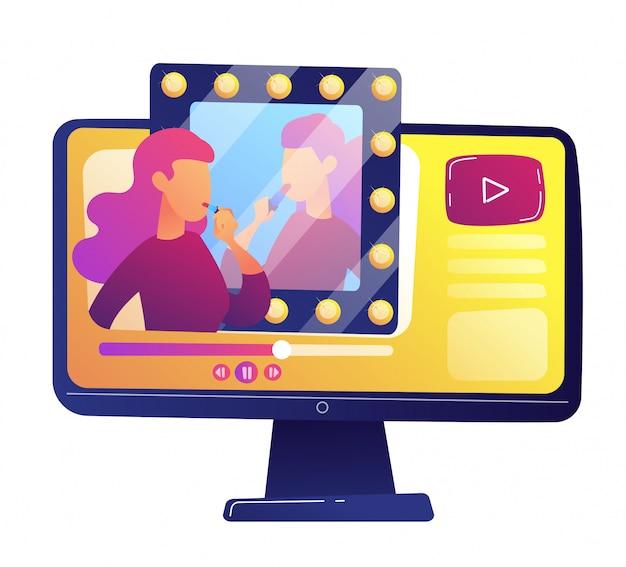 Ilustración de vector de revisión de video de blogger de belleza.