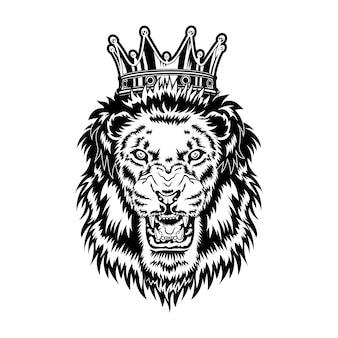 Ilustración de vector de rey león. cabeza de animal macho rugiente enojado con melena y corona real