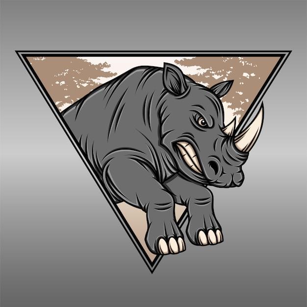 Ilustración de vector de rinoceronte fresco con paisaje de triángulo