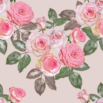 Ilustración de vector de rosas rosas ramo de patrones sin fisuras