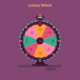 Ilustración de vector de rueda de lotería plana