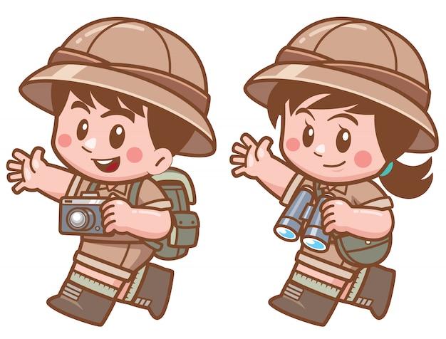 Ilustración de vector de safari niño y niña