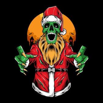 Ilustración de vector de santa zombie aterrador