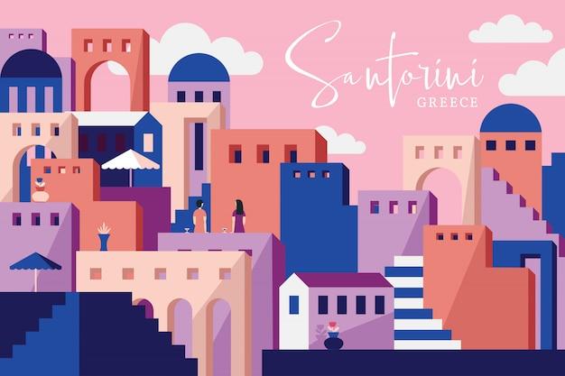 Ilustración de vector de santorini grecia