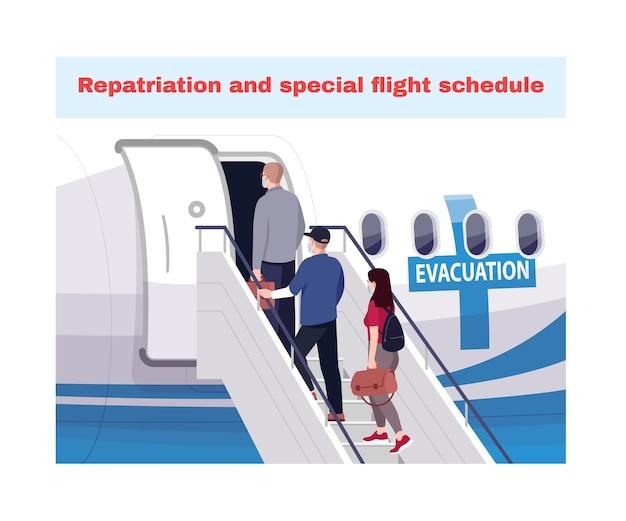 Ilustración de vector semi plano de evacuación de emergencia. repatriación y horario de vuelos especiales. cierre del área de contaminación. pasajeros de avión personajes de dibujos animados en 2d para uso comercial