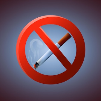 Ilustración de vector de señal de zona de no fumadores