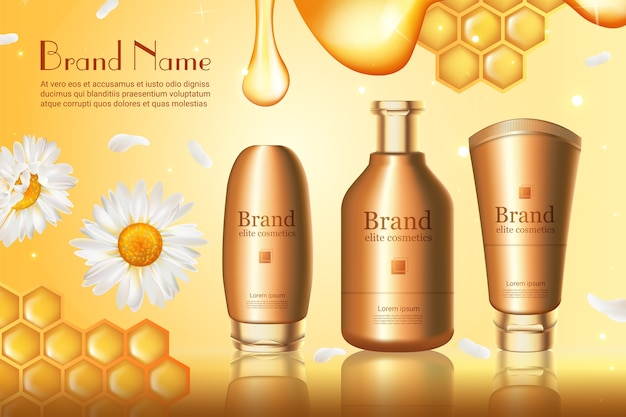 Ilustración de vector de serie de cosméticos de miel, producto de crema para el cuidado de la piel de miel en un conjunto de botella de envase dorado realista 3d que envasa oro