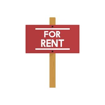Ilustración del vector de signo de alquiler de bienes raíces