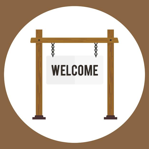 Ilustración del vector de signo de bienvenida