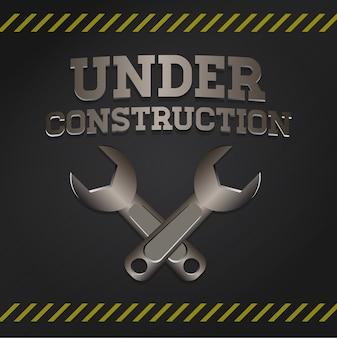 Bajo ilustración de vector de signo de construcción