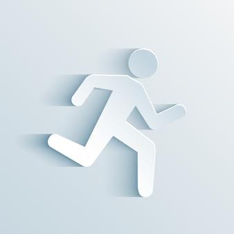 Ilustración de vector de signo de funcionamiento de hombre de papel