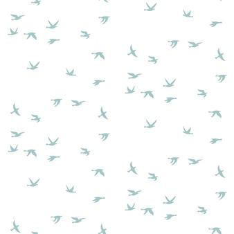 Ilustración de vector de silueta de pájaros. patrones sin fisuras con contornos planos de pájaros voladores