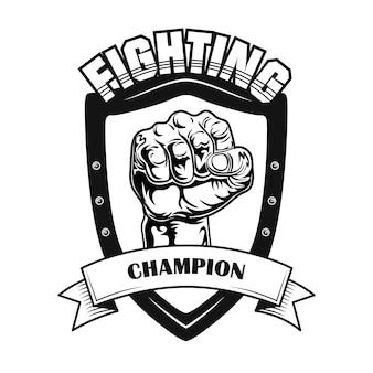 Ilustración de vector de símbolo de campeón de lucha. puños en parche de heráldica, texto en cinta