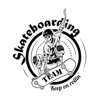 Ilustración de vector de símbolo de equipo de skate. esqueleto en casco en patineta en salto y texto