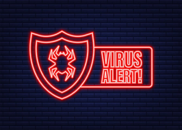 Ilustración de vector de símbolo de peligro. protección contra el virus. alerta de virus informático. tecnología de internet de seguridad, datos seguros. icono de neón.