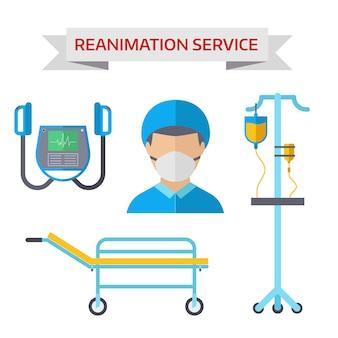 Ilustración de vector de símbolos de reanimación de ambulancia