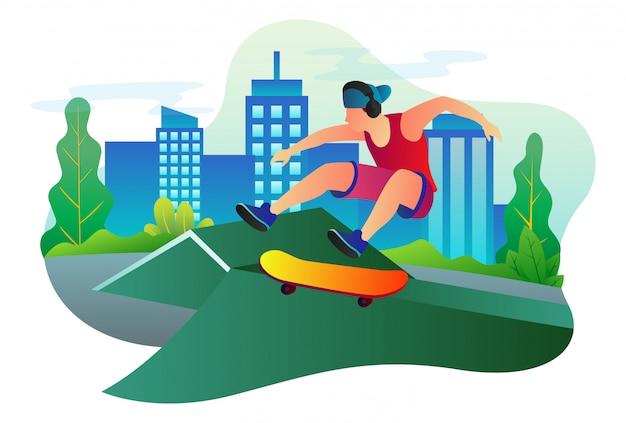 Ilustración de vector de skater profesional está practicando en el medio de la ciudad