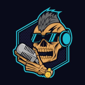 Ilustración de vector de skulll podcast