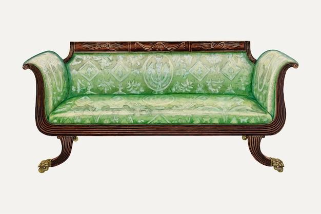 Ilustración de vector de sofá verde vintage, remezclada de la obra de arte de nicholas gorid