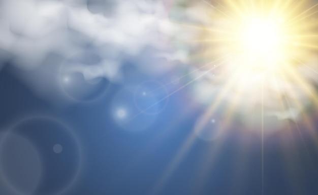 Ilustración de vector del sol brillando a través de las nubes luz del sol vector nublado