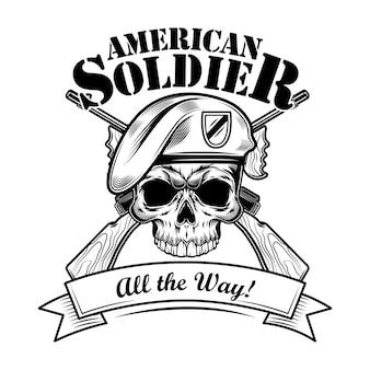 Ilustración de vector de soldado de fuerzas aerotransportadas. calavera en boina con rifles cruzados y un ;; la forma de texto. concepto militar o militar para emblemas o plantillas de tatuajes