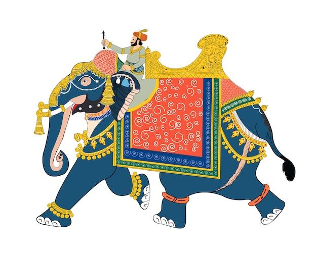 Ilustración del vector del soldado que monta el elefante