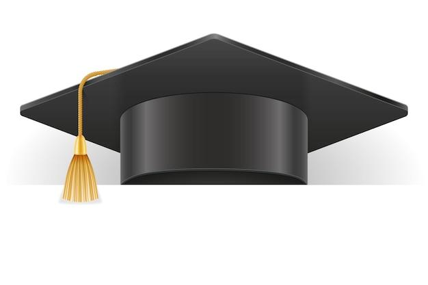 Ilustración de vector de sombrero graduado de universidad y academia aislado sobre fondo blanco