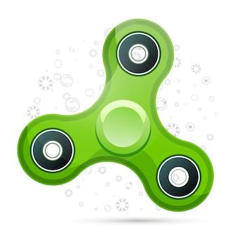 Ilustración de vector de spinner fidget verde realista con reflejos. concepto creativo de juguete para mejorar la capacidad de atención.