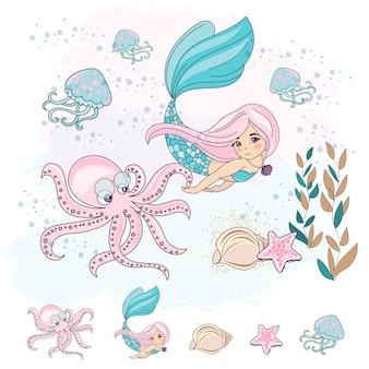 Ilustración de vector submarino de escuela otoño mar set octuso de mermaid